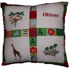 PERSONALISED EMBROIDERED CUSHION WITH JUNGLE THEME
